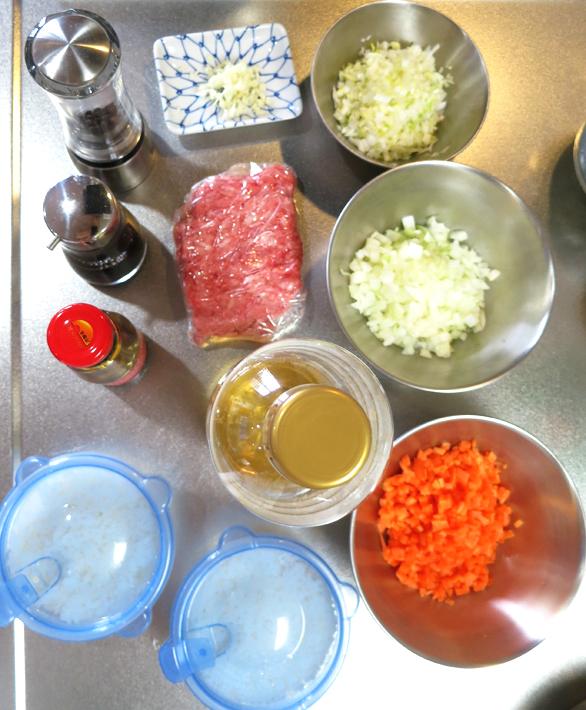 豚ひき肉チャーハンの材料