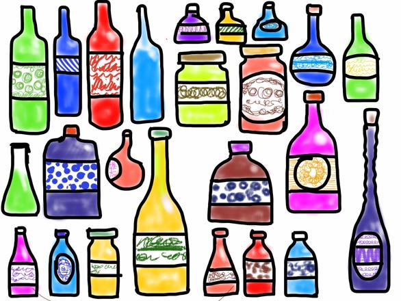 カラフルな瓶
