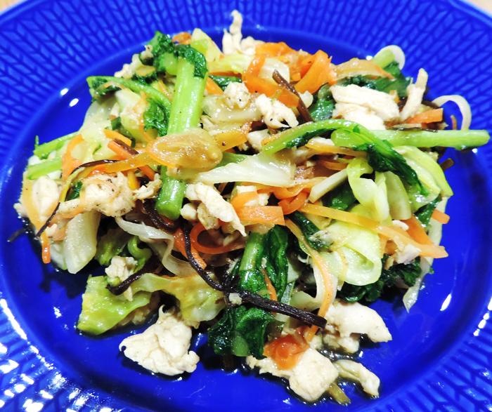 豚肉と野菜の塩昆布炒め