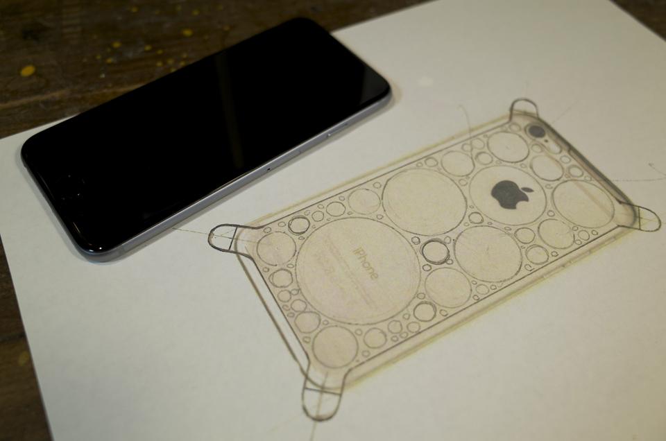 真鍮製iPhone6ケース 図面