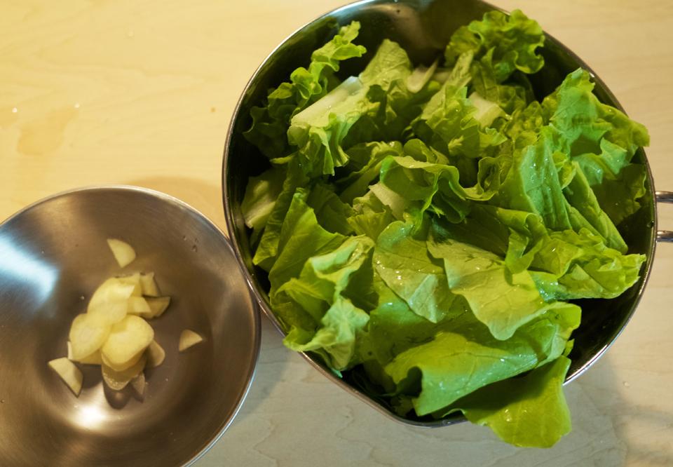 山東菜とにんにく