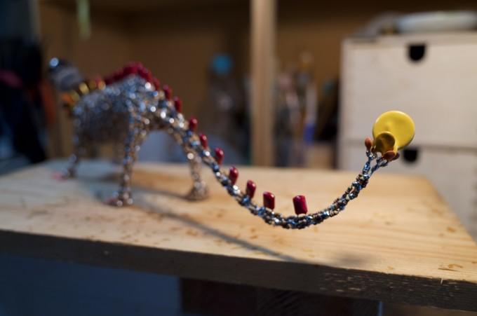 真空管と電子パーツを使った作品 制作途中