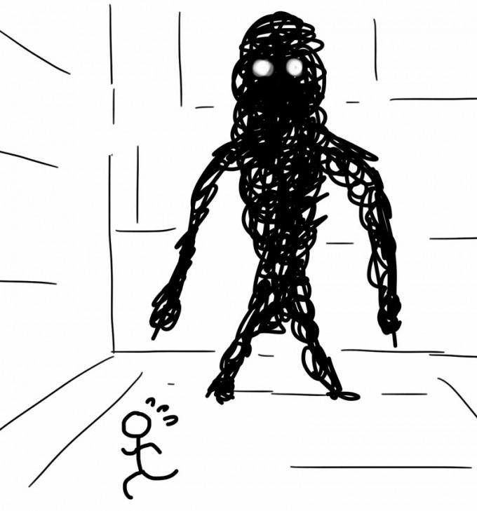巨大な怪物に追い掛け回される夢