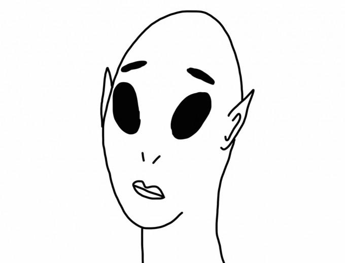 宇宙人のような顔