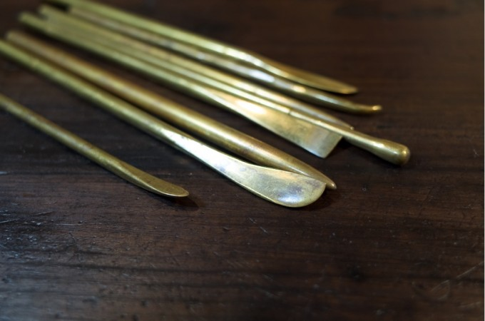 手作り 真鍮製粘土ベラ