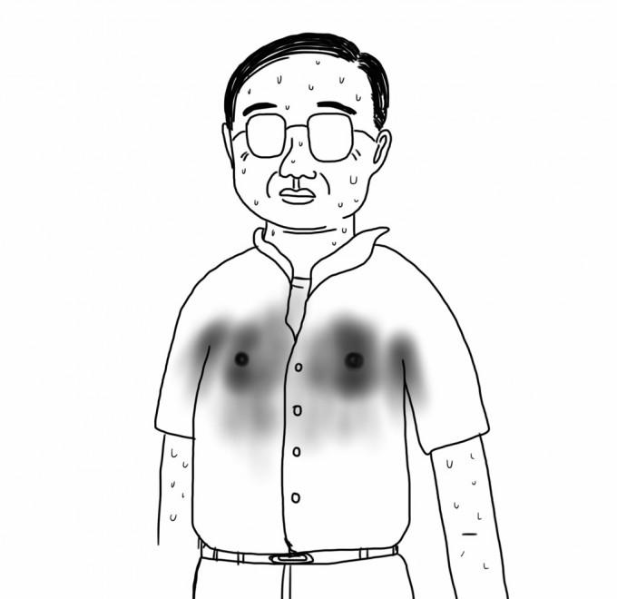 Yシャツが汗で透けたおじさん